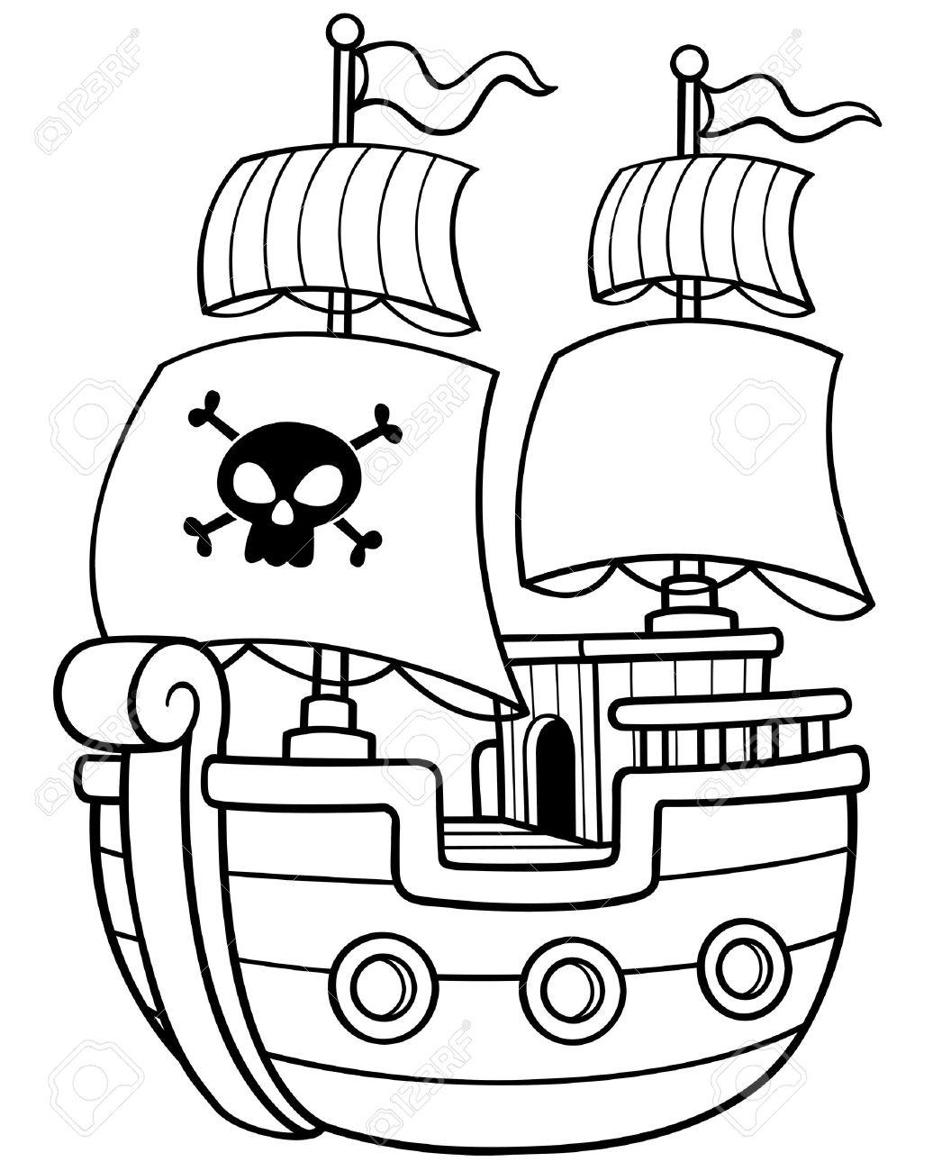 Vector Ilustración De Libro Del Barco Pirata Para Colorear