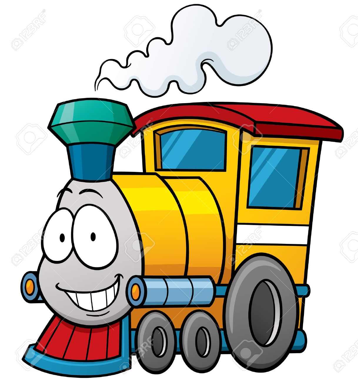 vector illustration of cartoon train royalty free cliparts vectors