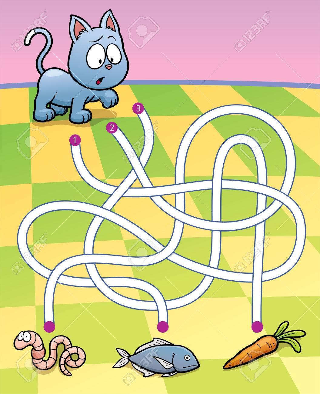 Vector Illustration of Education Maze Game Cat with food - 43675889
