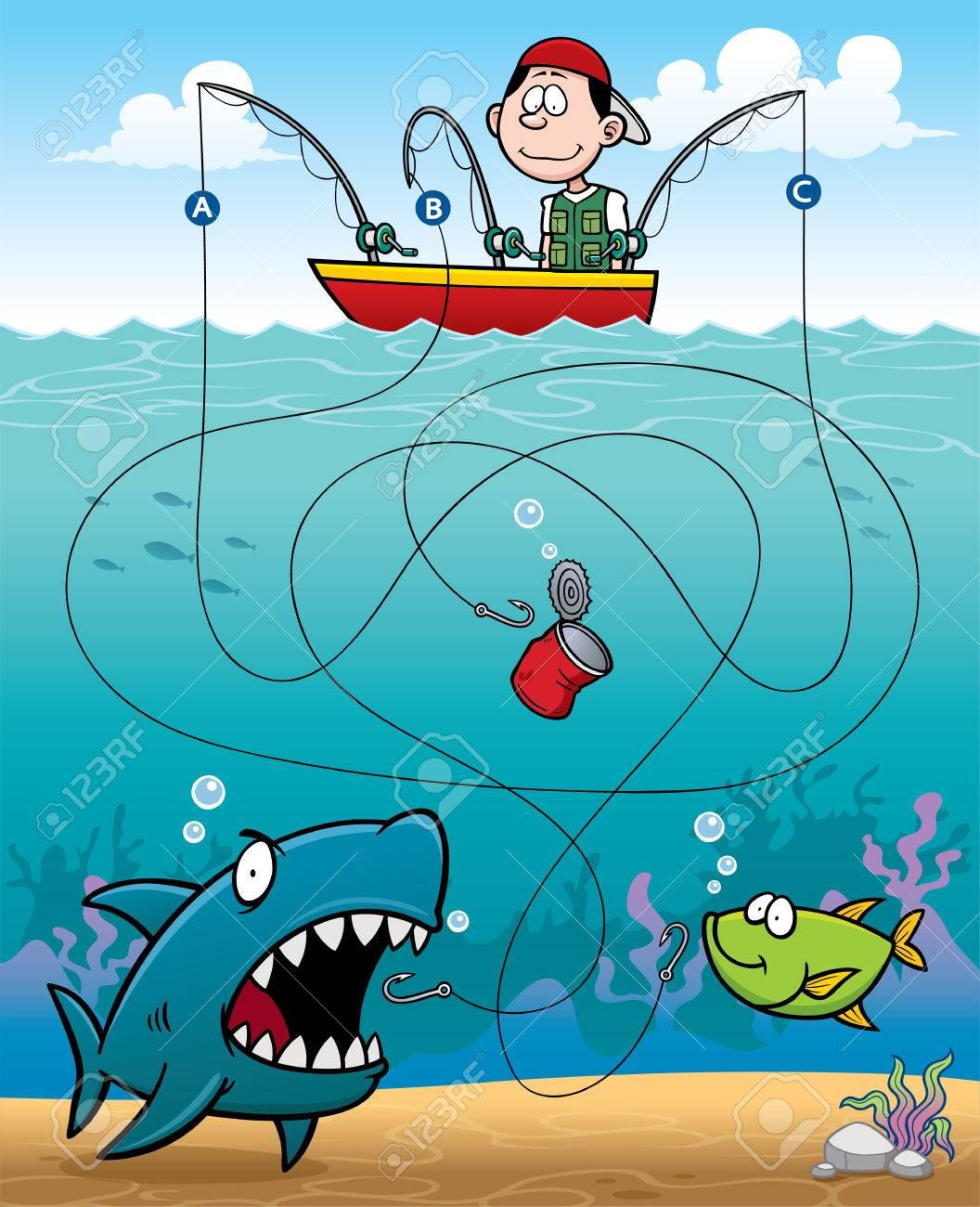 Vector Illustration of Education Fisherman Maze Game - 44035914