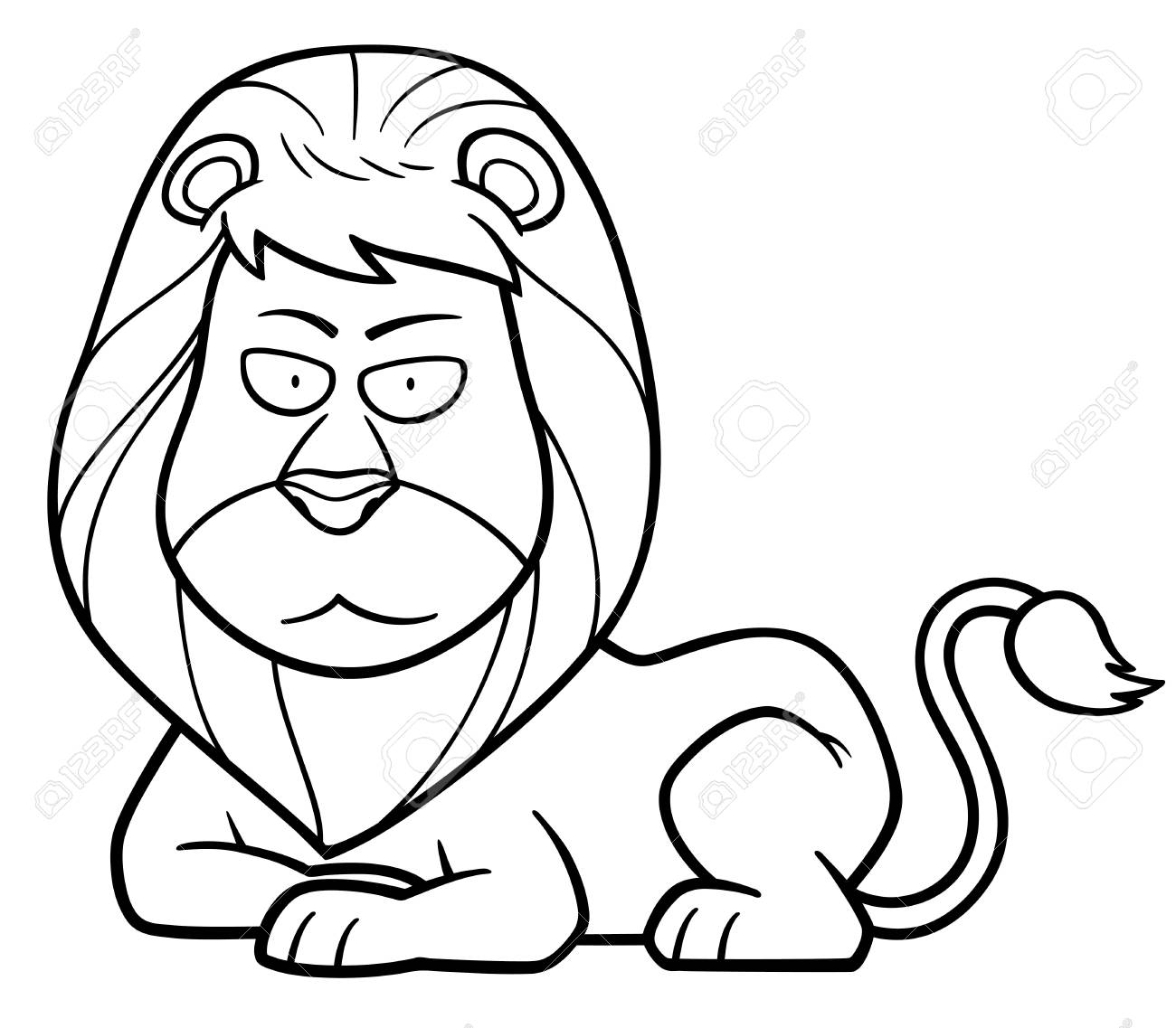 Vector Illustration Of Lion Cartoon - Coloring Book Royalty Free ...