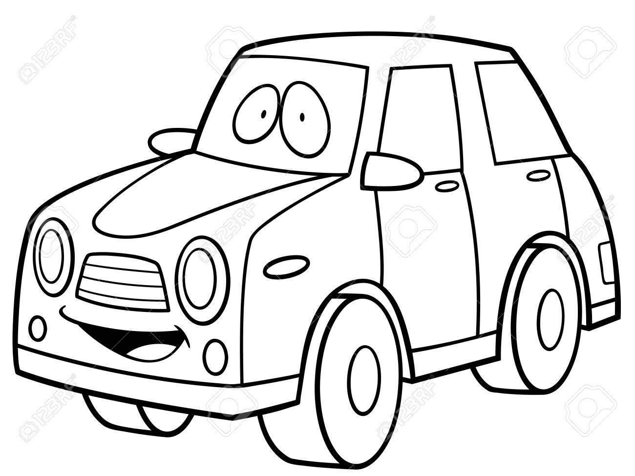 Vector Illustration of Cartoon Car - Coloring book