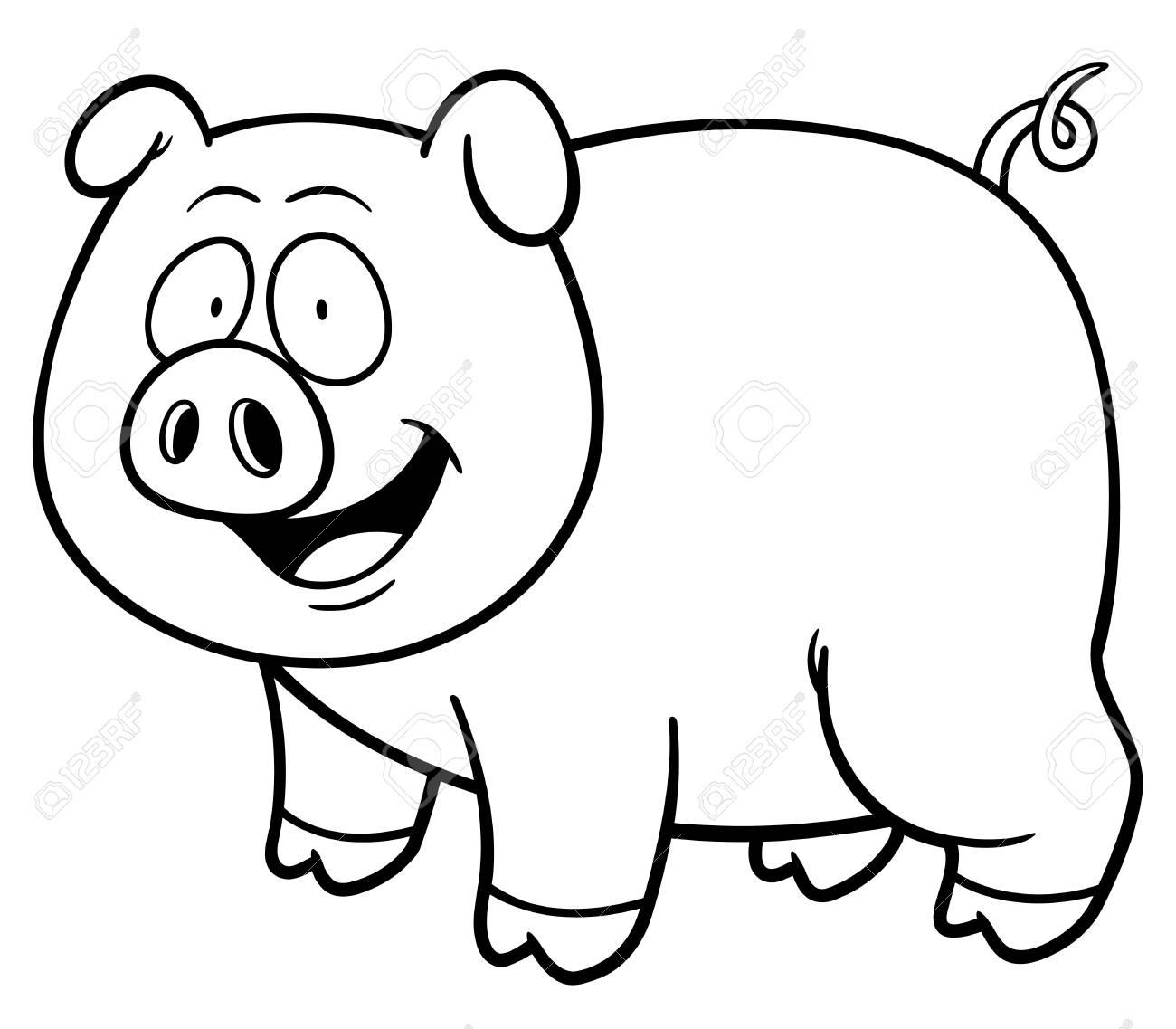 Ilustración De Dibujos Animados De Cerdo - Libro De Colorante ...