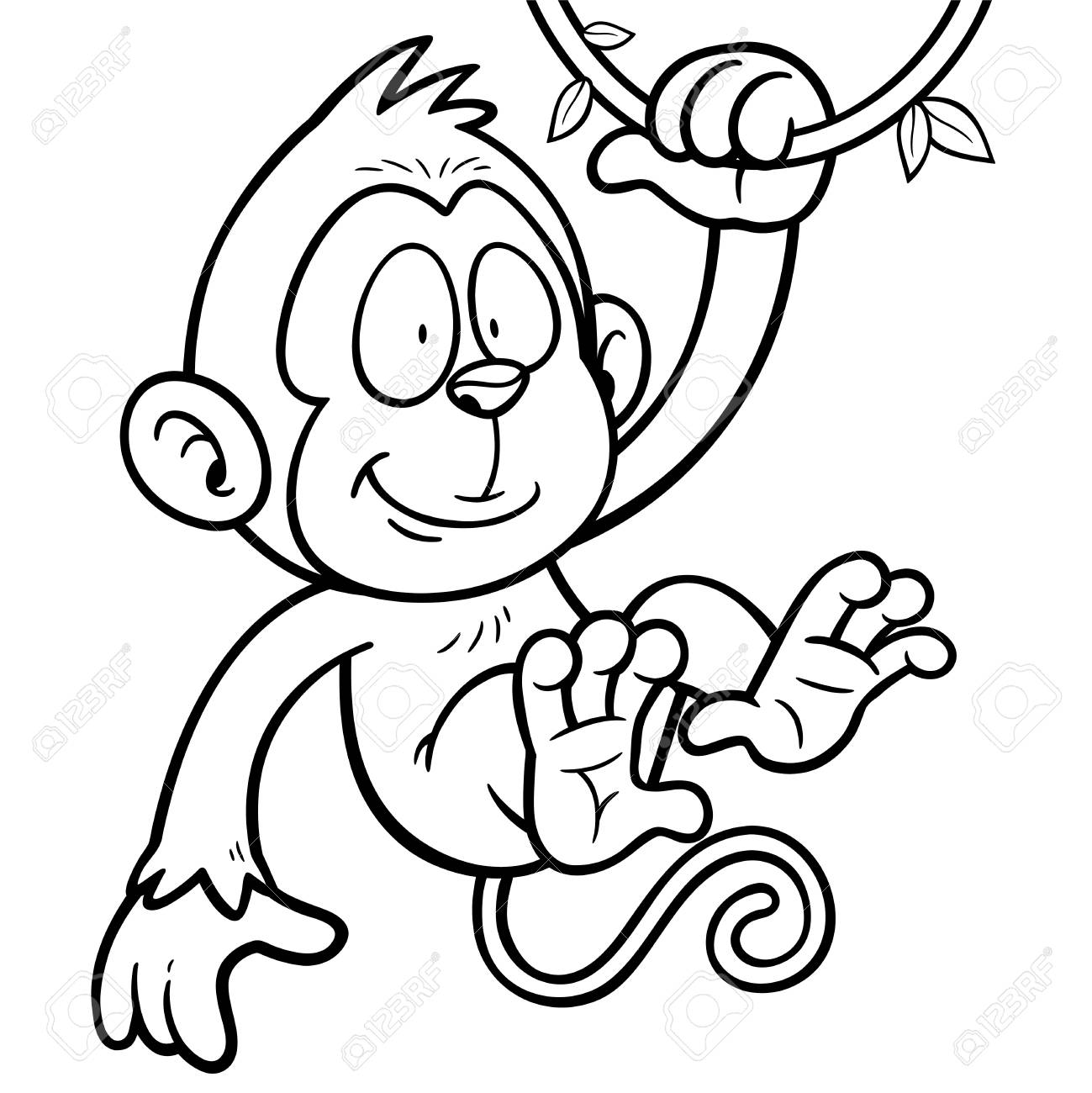Vector Illustration Of Cartoon Monkey - Coloring Book Royalty Free ...