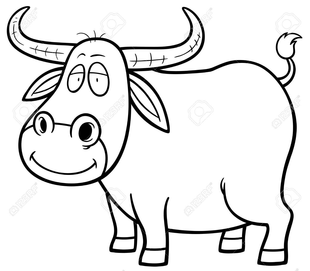 vector illustration of cartoon buffalo coloring book royalty free