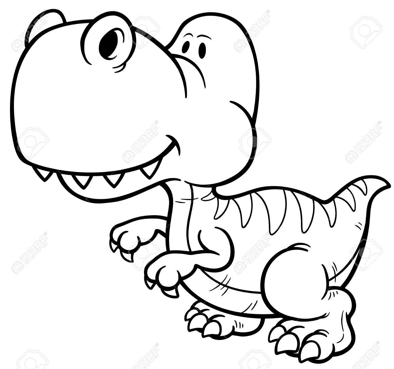 Illustration Of Dinosaur Cartoon Coloring Book
