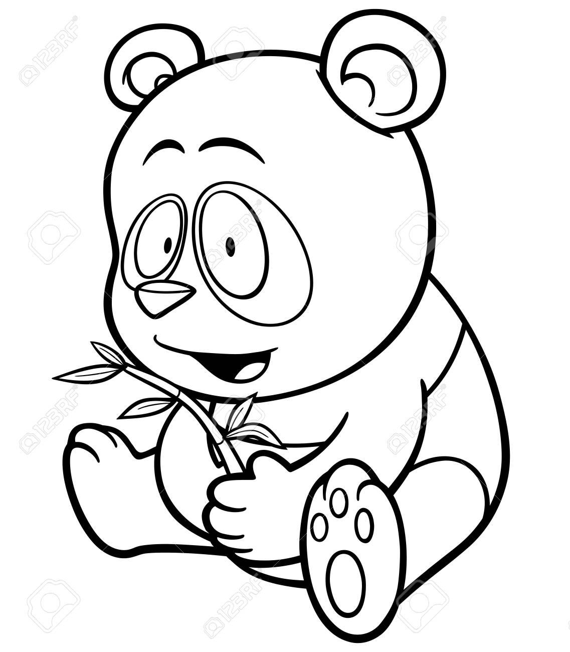パンダ漫画 塗り絵のイラストのイラスト素材ベクタ Image 52096325