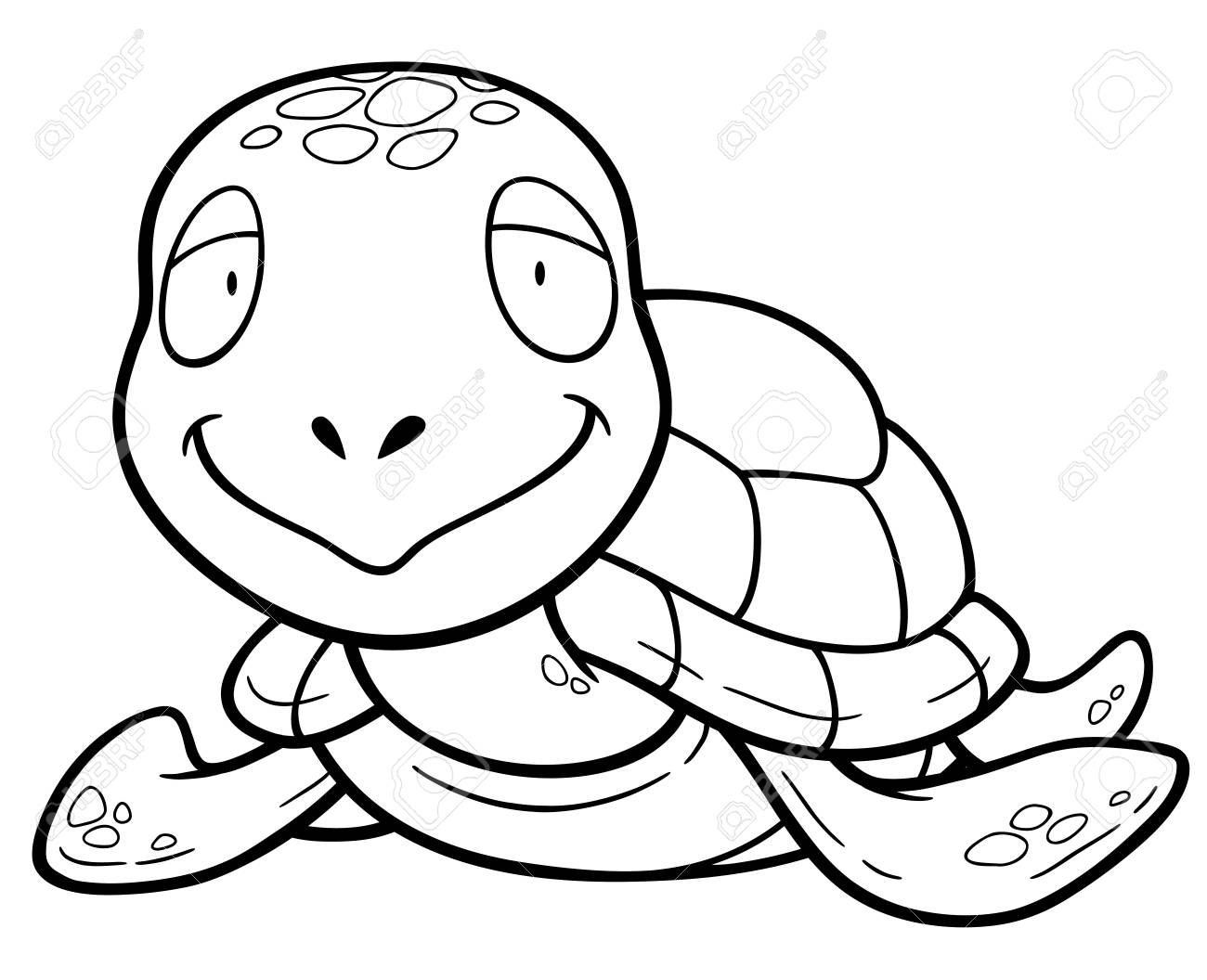 Illustration Of Cartoon Turtle Coloring Book