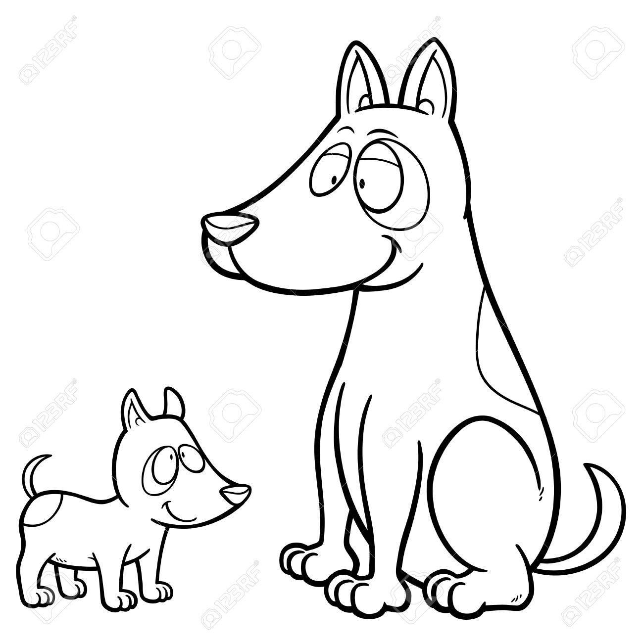 Illustration Of Cartoon Dog - Coloring Book Royalty Free Cliparts ...