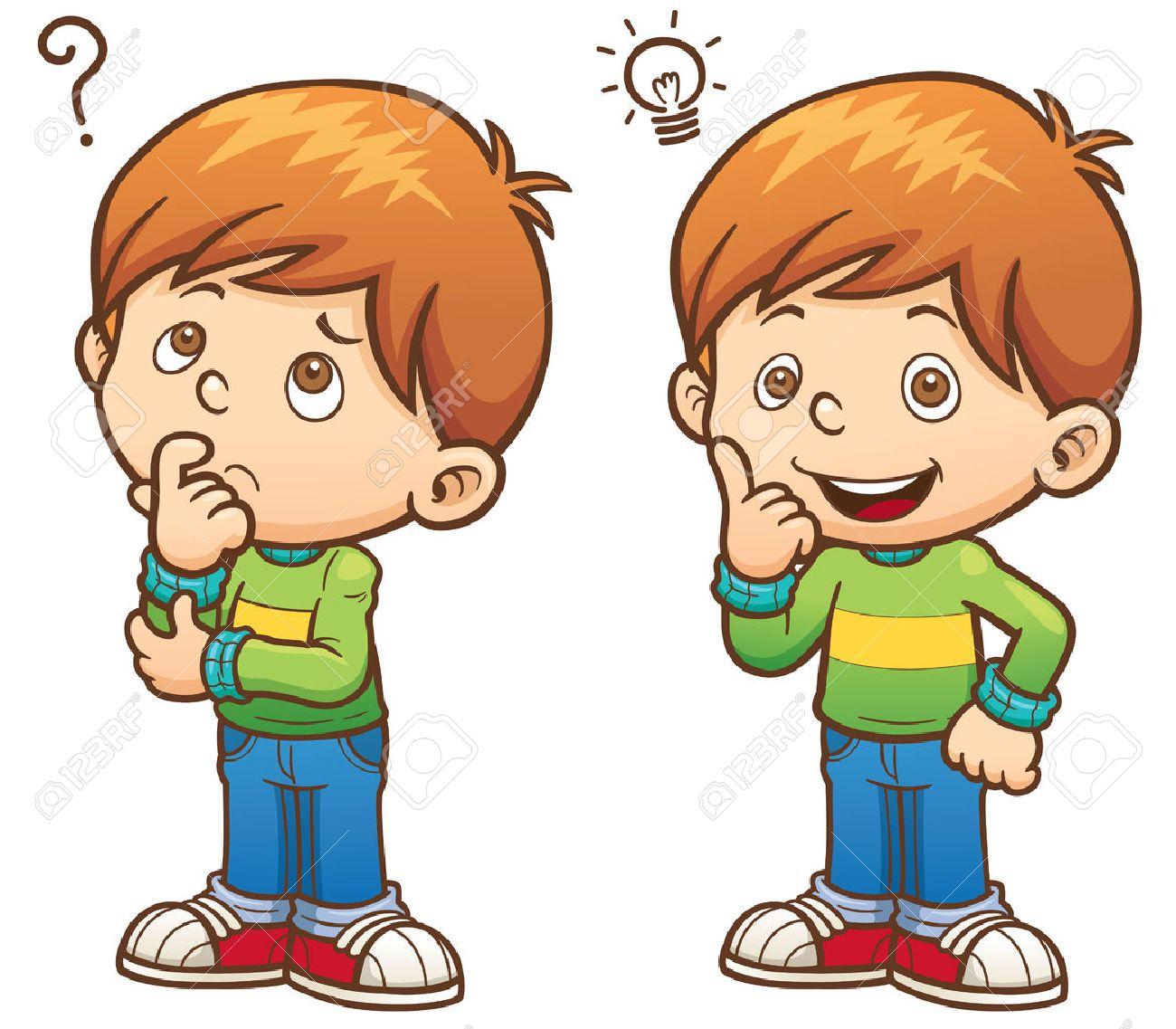 Illustration of cartoon boy thinking stock vector 52125759
