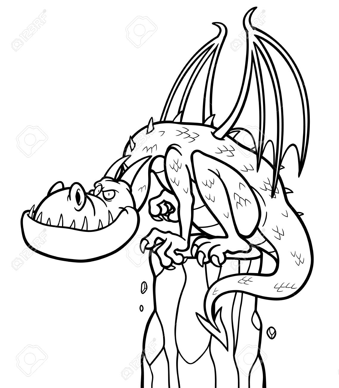 Illustration Of Cartoon Dragon - Coloring Book Royalty Free Cliparts ...