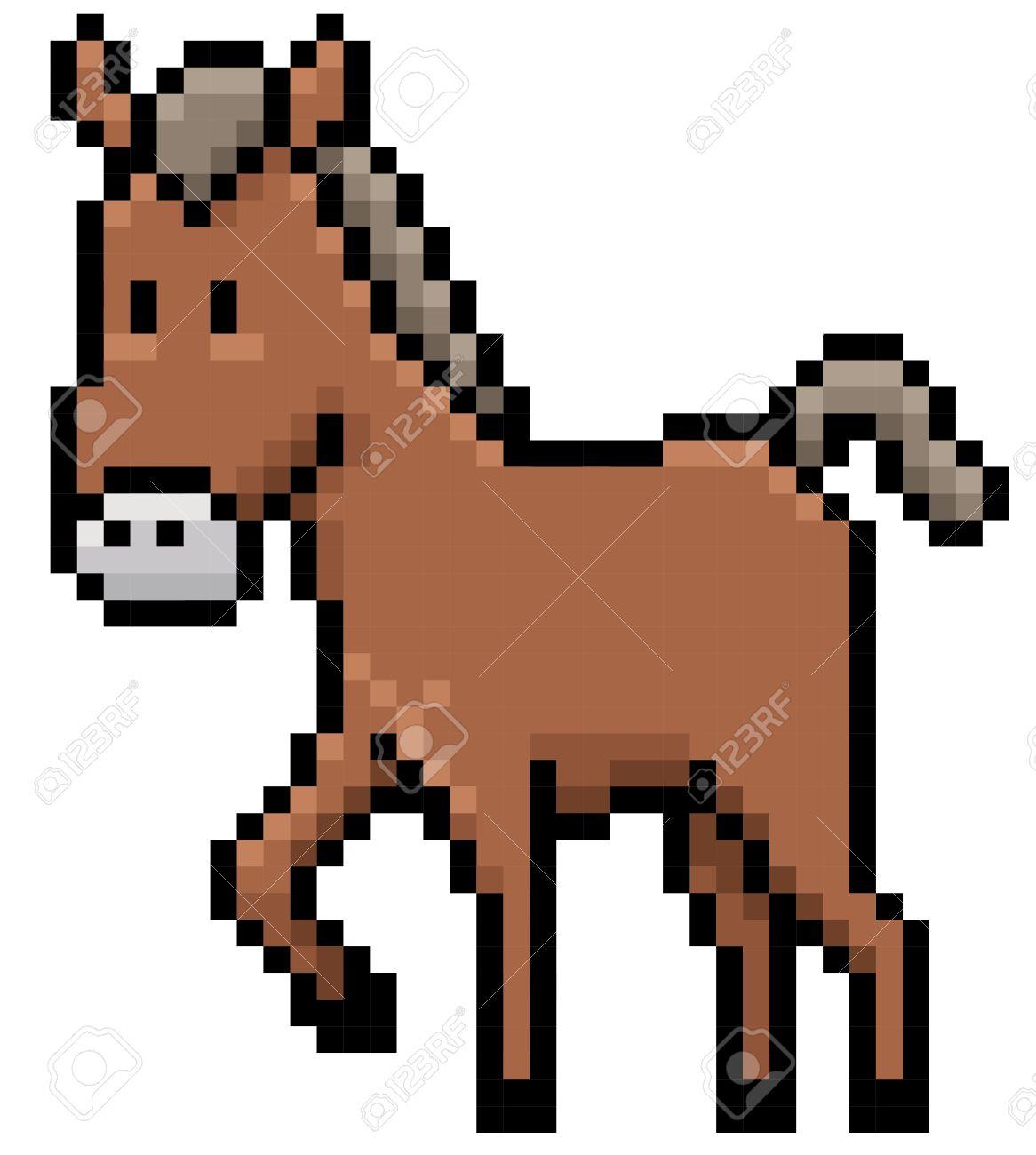 Illustration De Cheval De Bande Dessinée Conception De Pixel
