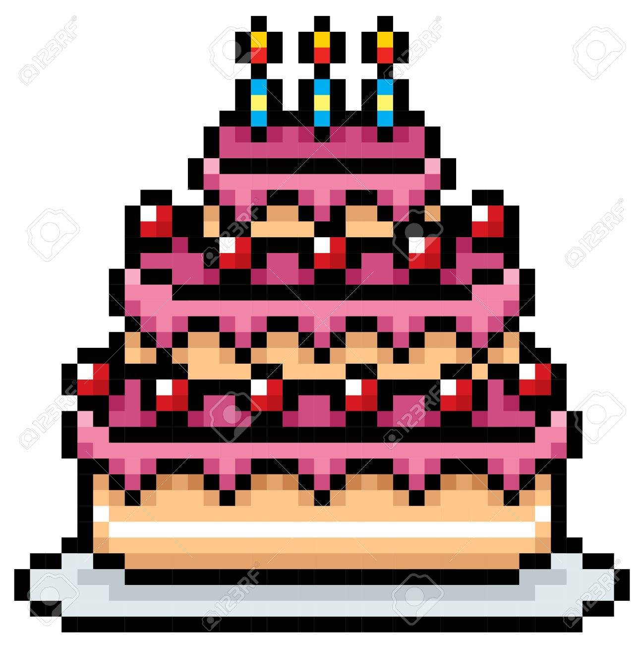 Illustration Of Birthday Cake Pixel Design