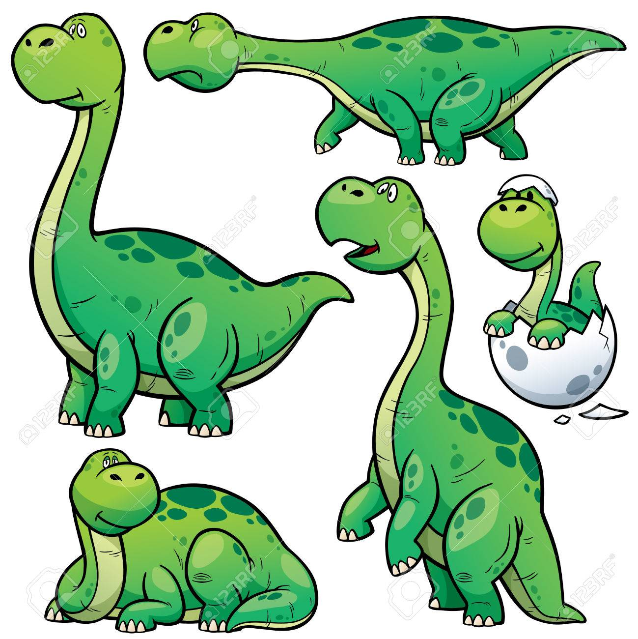 vector illustration of dinosaurs cartoon character set royalty free