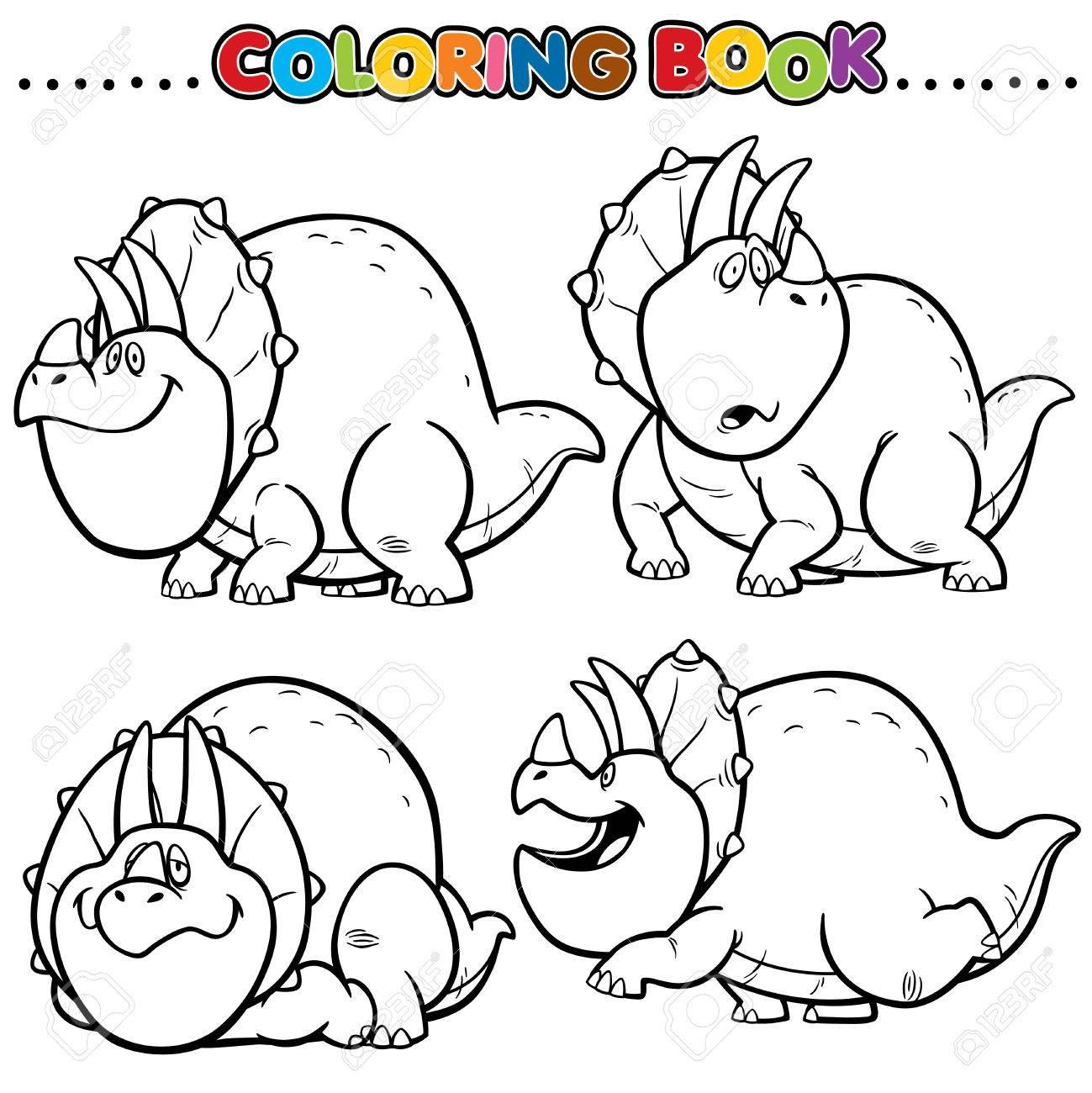 Cartoon Coloring Book - Dinosaurs Character Royalty Free Cliparts ...