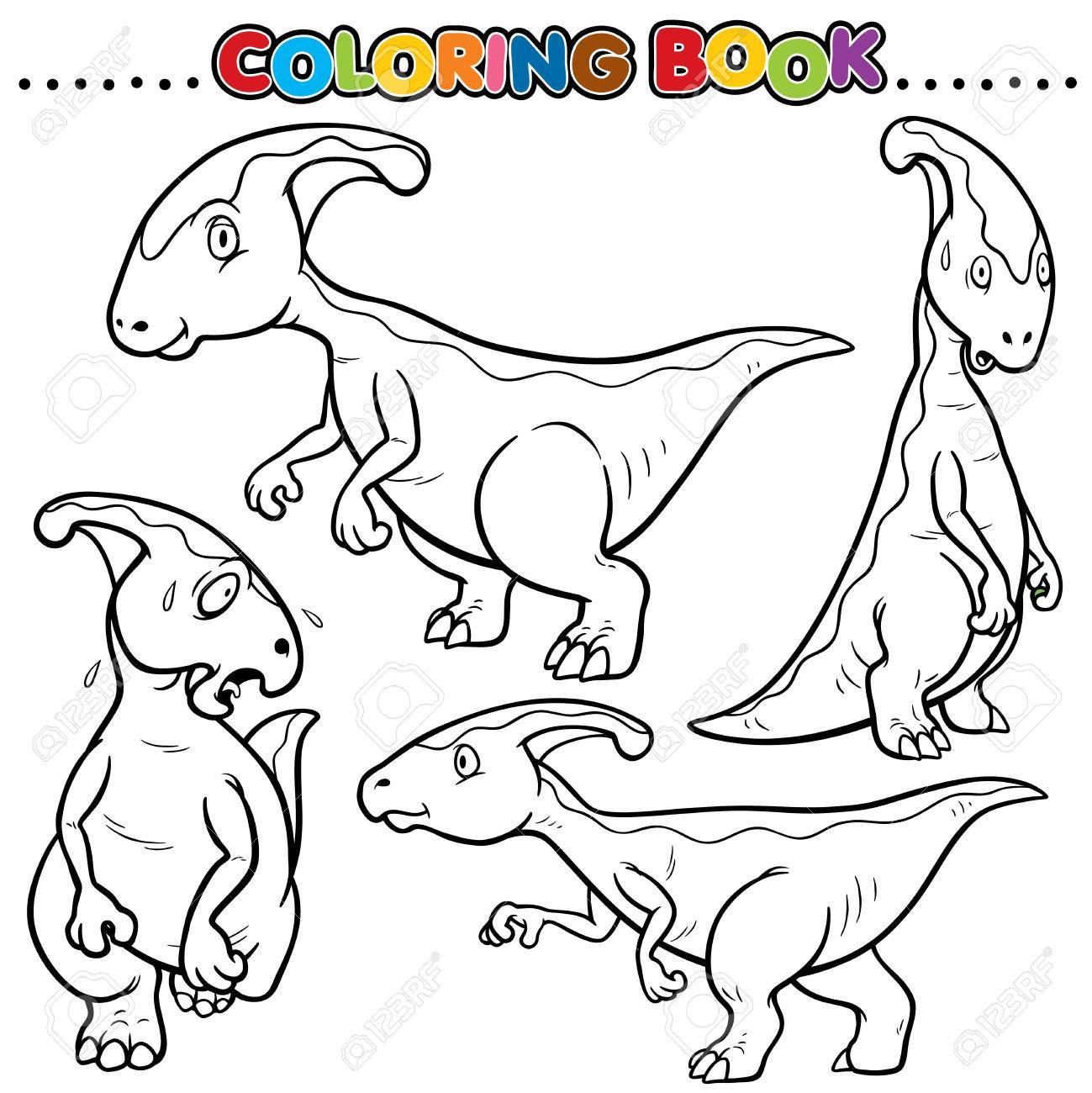 De Dibujos Animados Para Colorear Libro - Carácter Dinosaurios ...