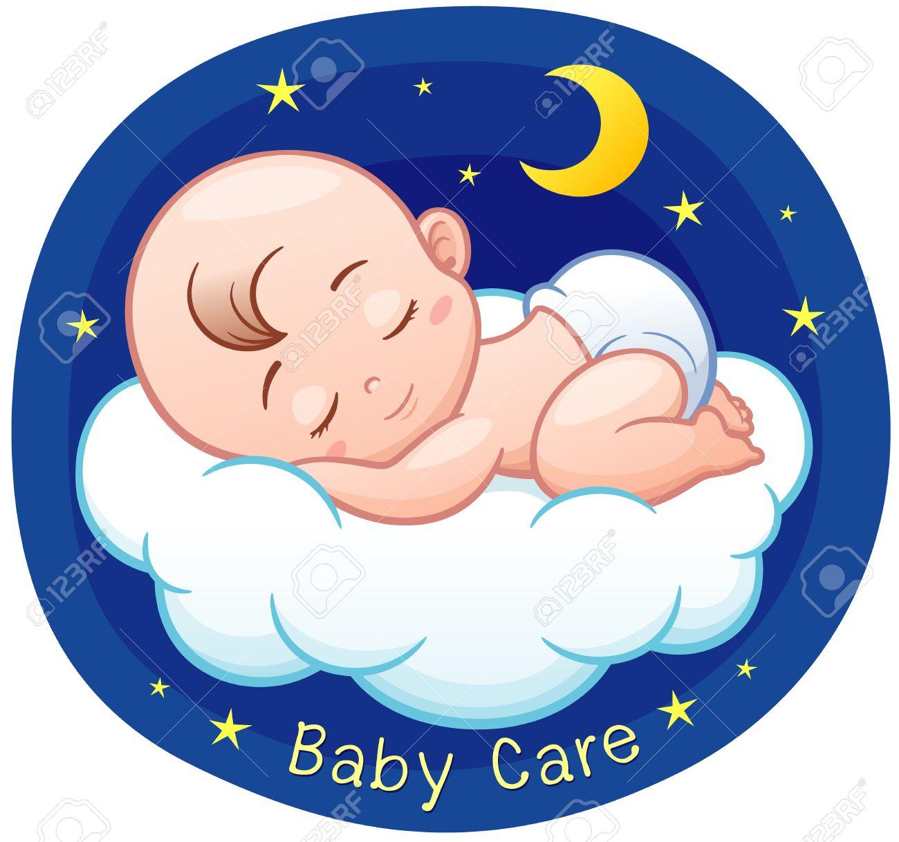 Vector Illustration of Cartoon Baby sleeping on a cloud - 66380291