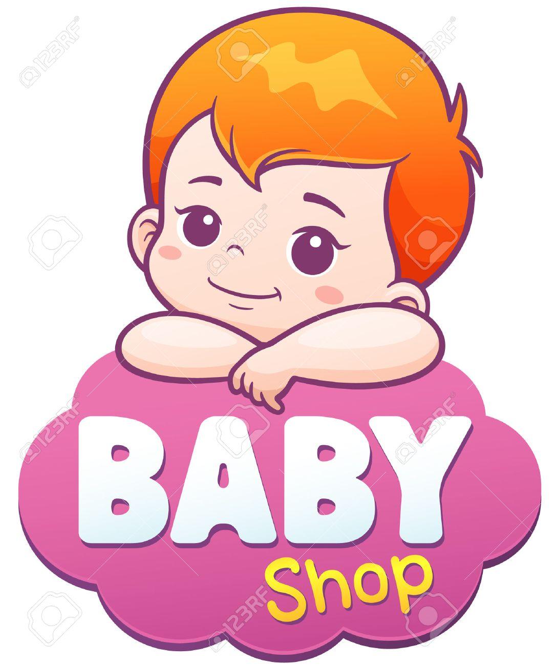 Vector Illustration of Cartoon Cute Baby. Baby shop logo concept - 66380298
