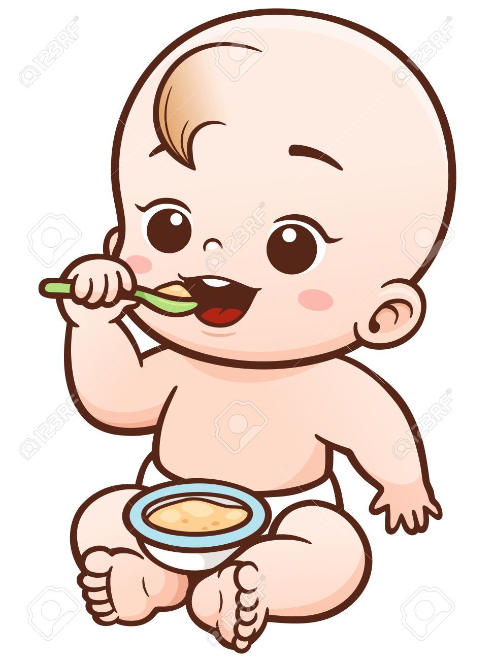 vector illustration of cartoon cute baby eating royalty free rh 123rf com baby vector psd baby vector file free quilting