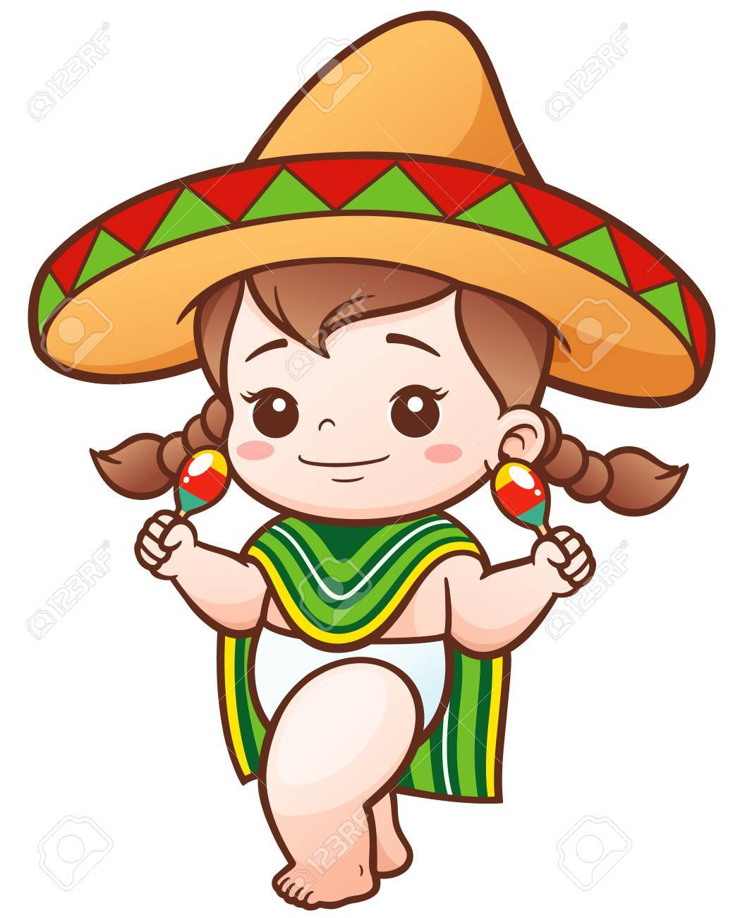 illustration of cartoon cute baby girl wear mexican royalty free rh 123rf com Baby Girl Mexican Cartoon Baby Girl Mexican Cartoon