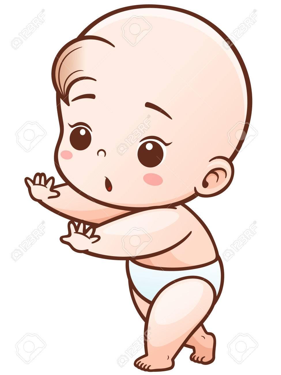 vector illustration of cartoon cute baby learn to walk royalty free rh 123rf com baby vector art free baby vector art