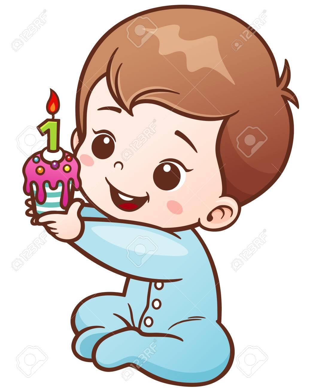 Vector Illustration Of Cartoon Cute Baby Holding Birthday Cake