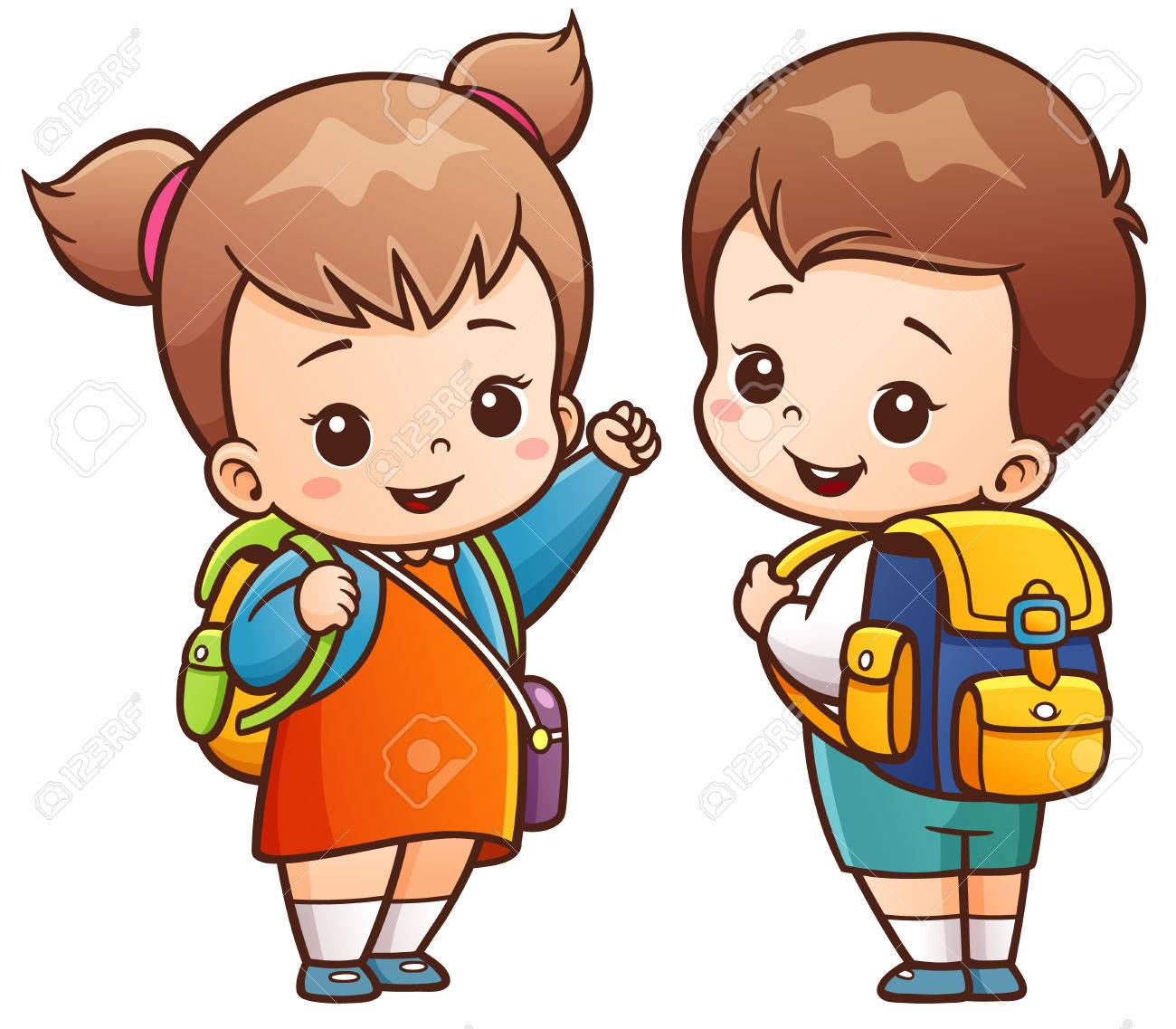 illustration of cartoon kids going to school royalty free cliparts