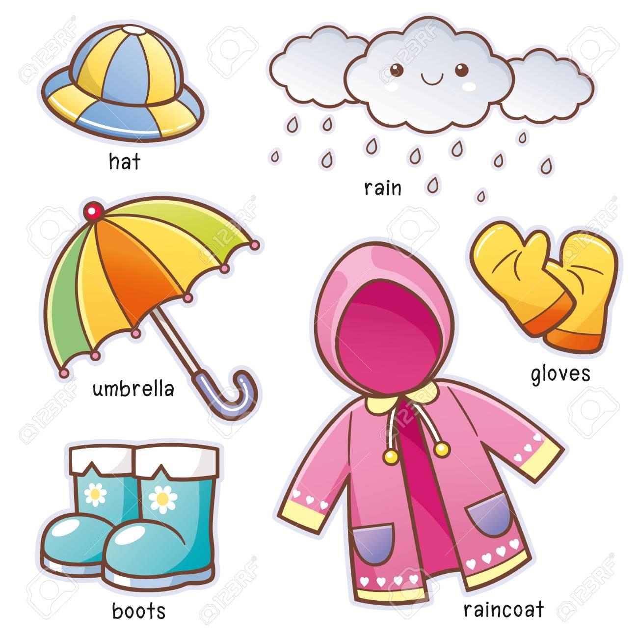 Vector illustration of Cartoon Rain Clothes vocabulary - 81227868