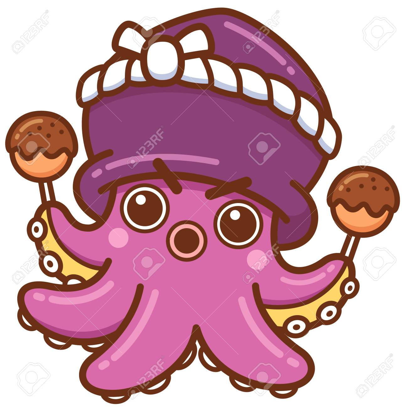 Vector illustration of Cartoon octopus chef - 119964339