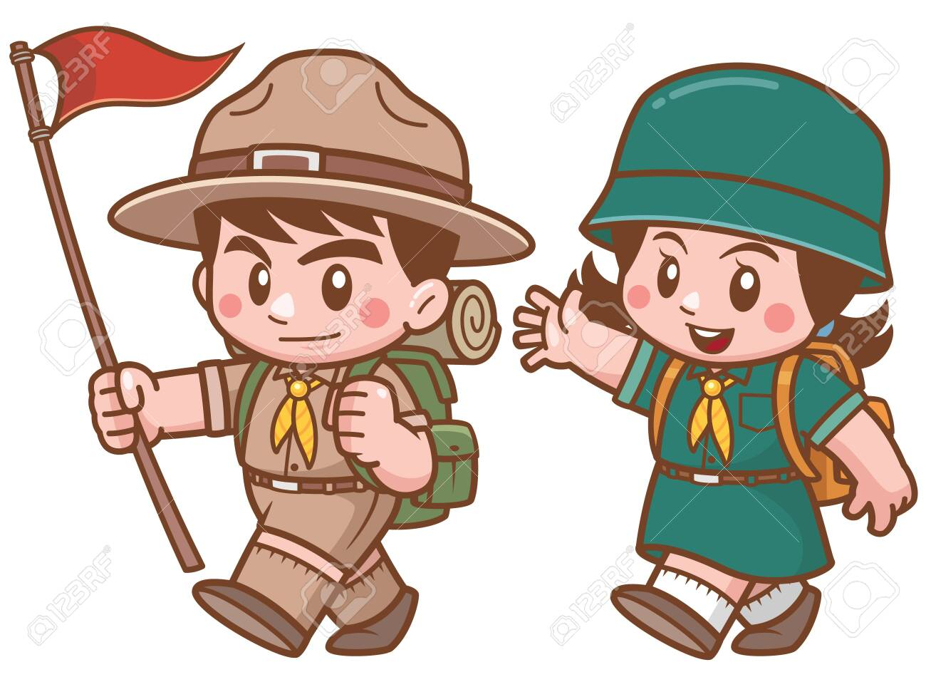 Vector illustration of Scout kids character - 128483641
