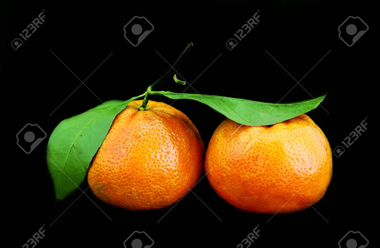 Tangerines on a black background Stock Photo - 8101458