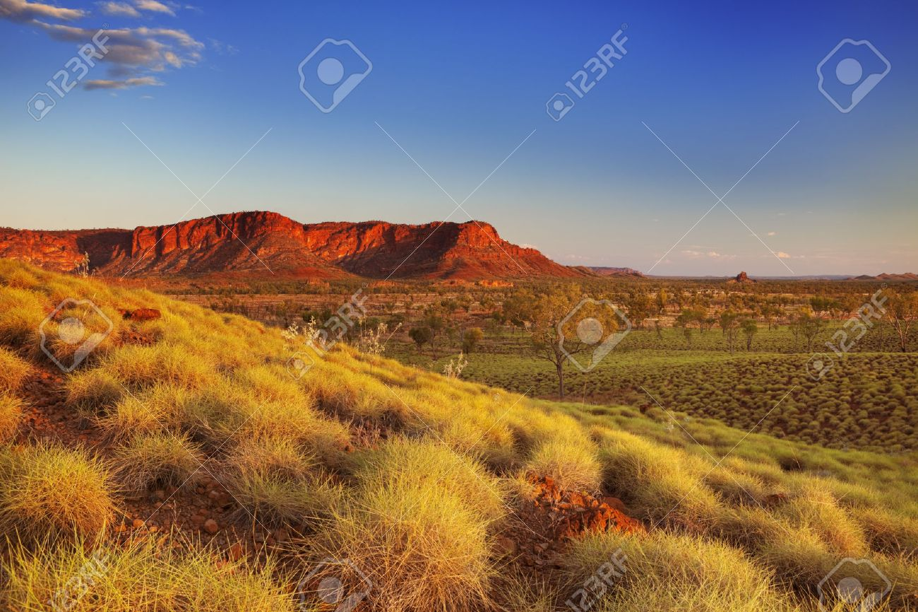 Beautiful Australian landscape in the light of a setting sun. Photographed from the Kungkalahayi lookout in Purnululu National Park. Stock Photo - 43325443