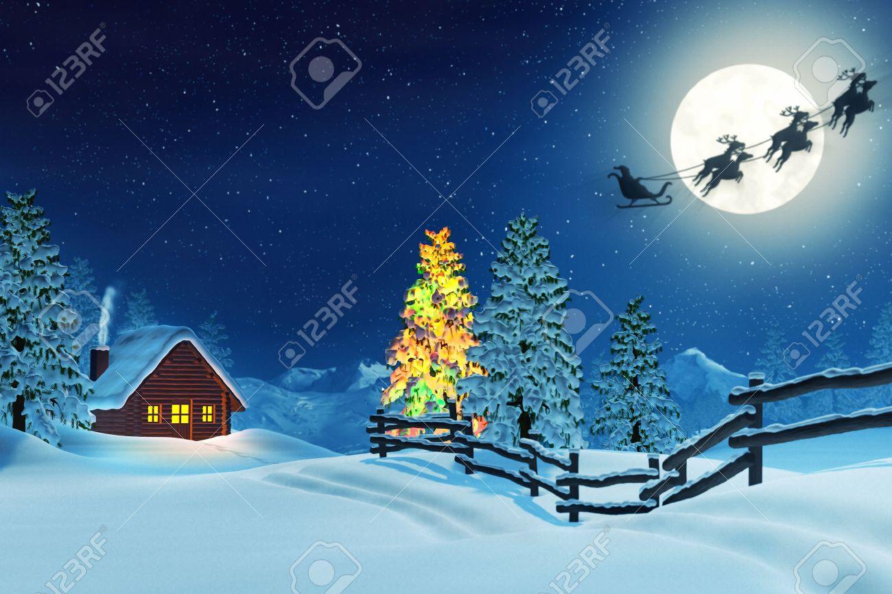 夜月明かりに照らされた雪のクリ...