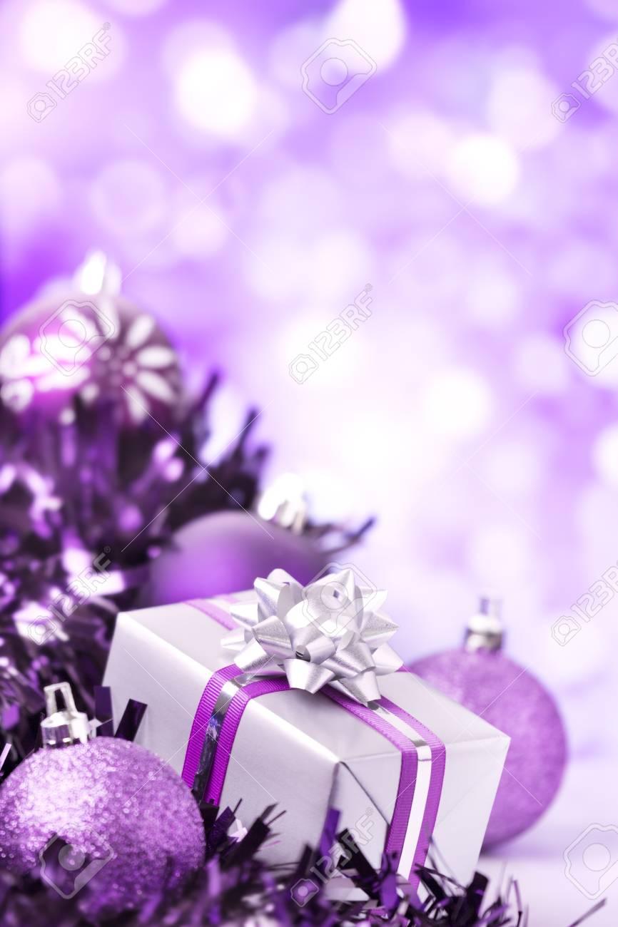Christbaumkugeln Violett.Stock Photo