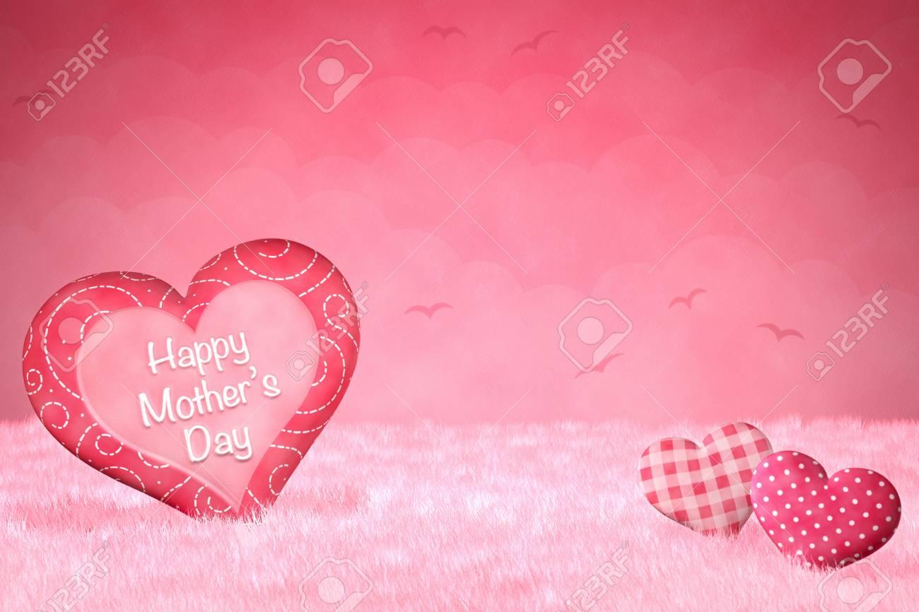 Pequeños Corazones Lindos Para El Día De La Madre En Un Fondo De Ensueño De Color Rosa