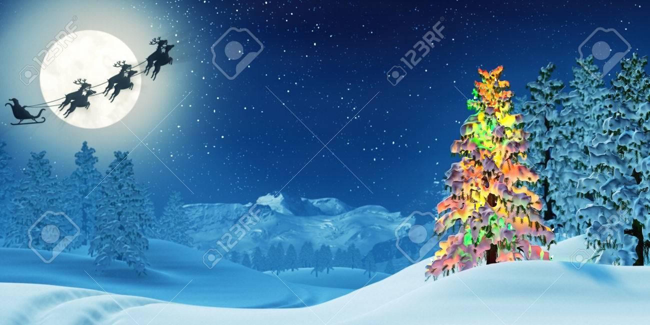 Eine Mondbeschienene Verschneit Weihnachten-Landschaft In Der Nacht ...