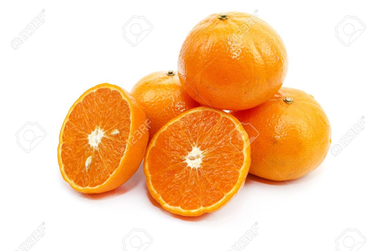 Sweet orange fresh fruit on white background - 107847267