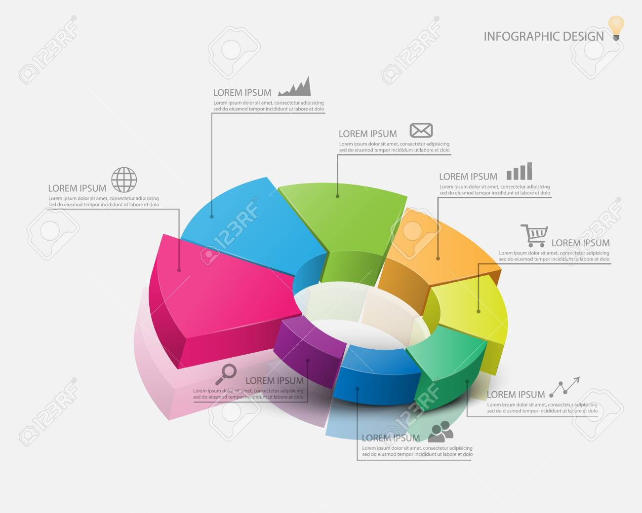 3d pie chart graph. vector illustration. royalty free cliparts