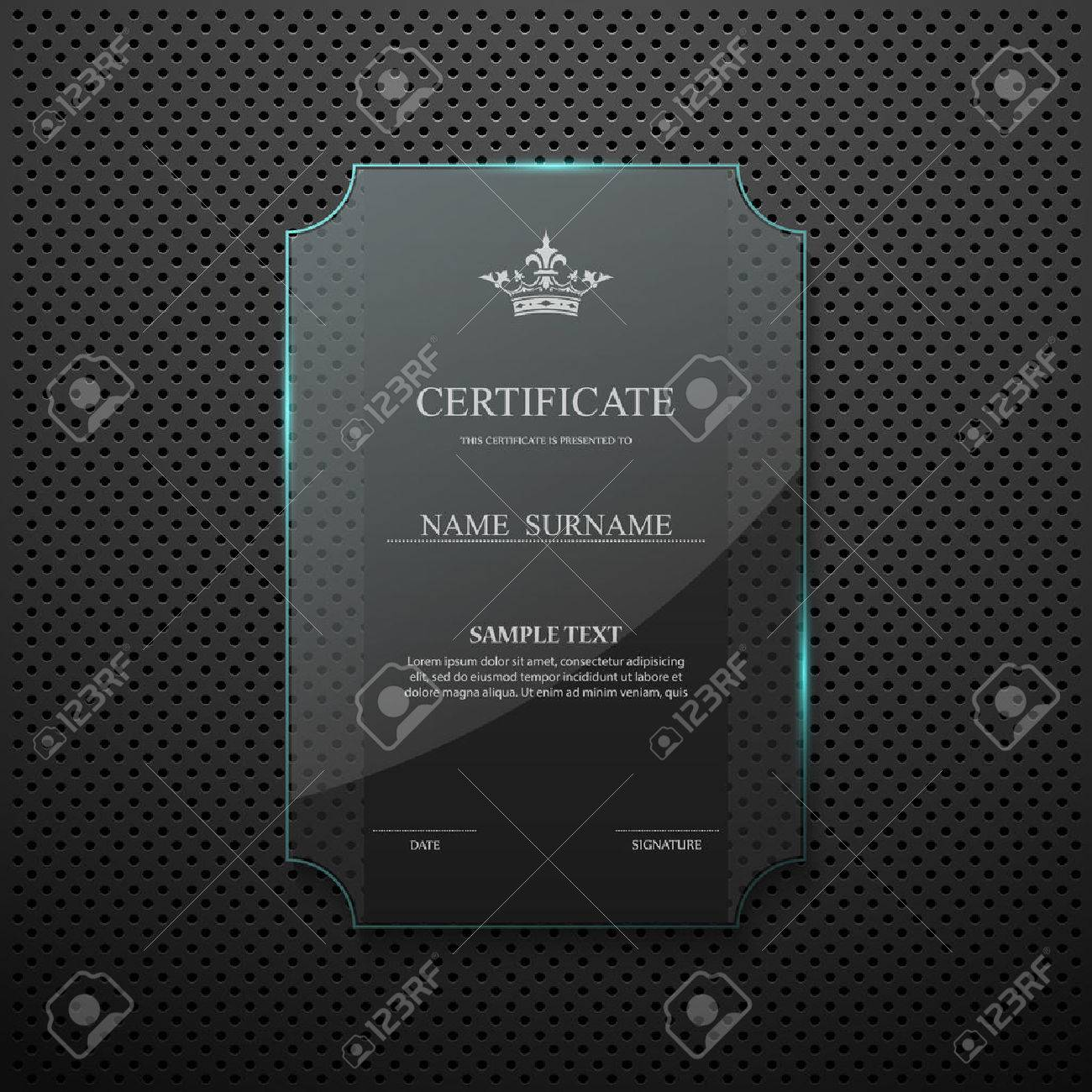 Certificate Design Template On Glass Frame Royalty Free Cliparts ...