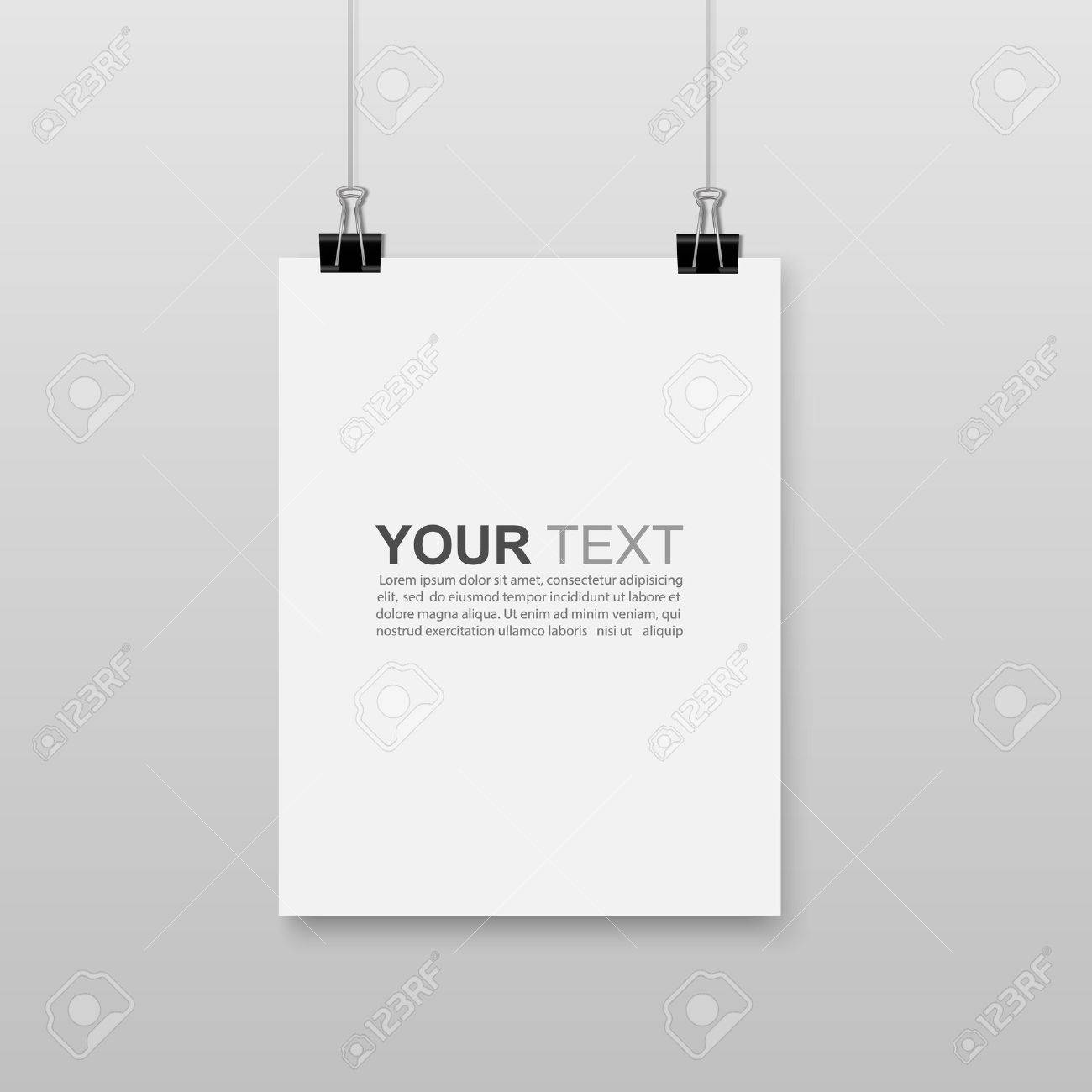 Photo Hanging Clips empty white a4 sized paper hanging with paper clips.vector royalty