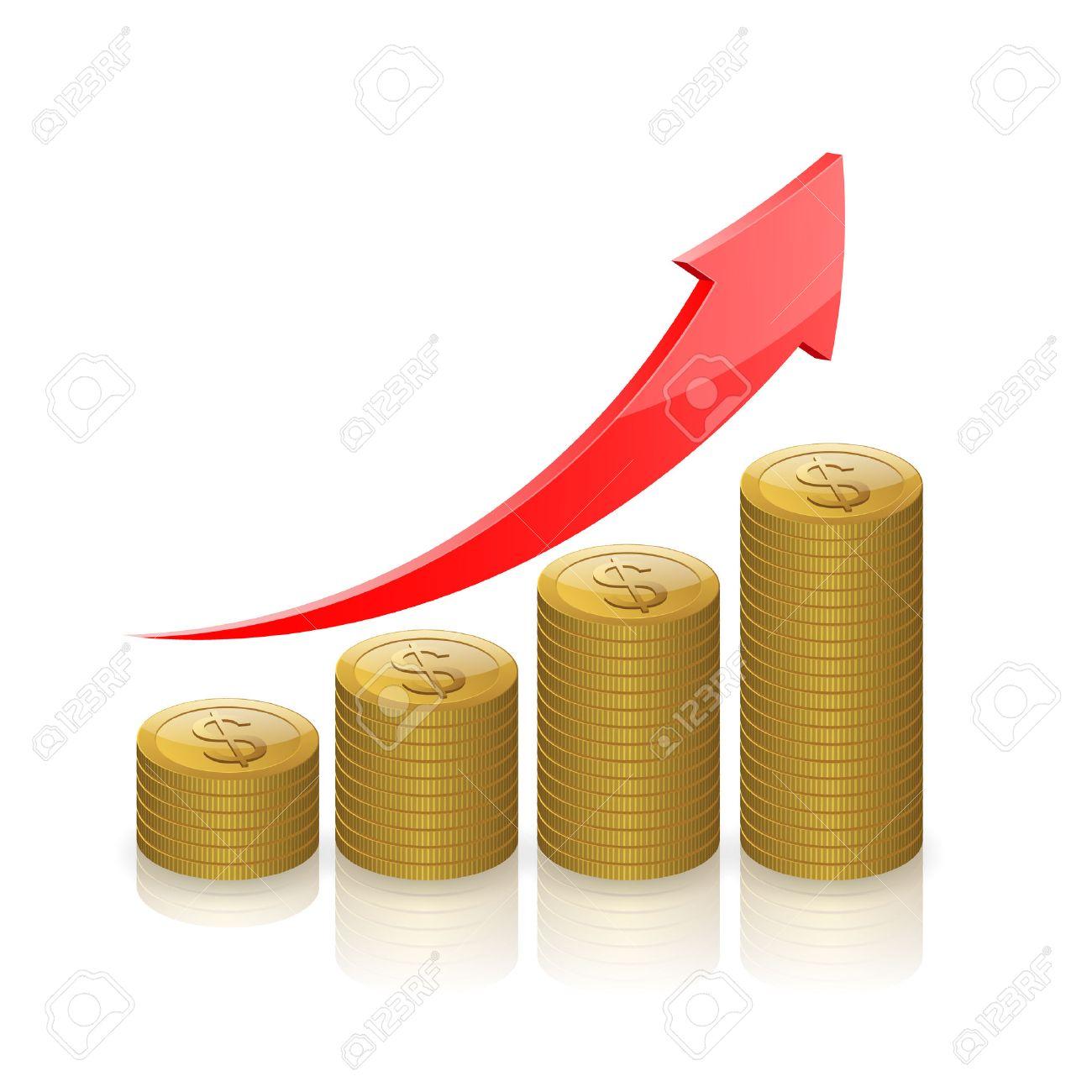 Gold coins money,Business graph icon, Business success concept. - 50074171