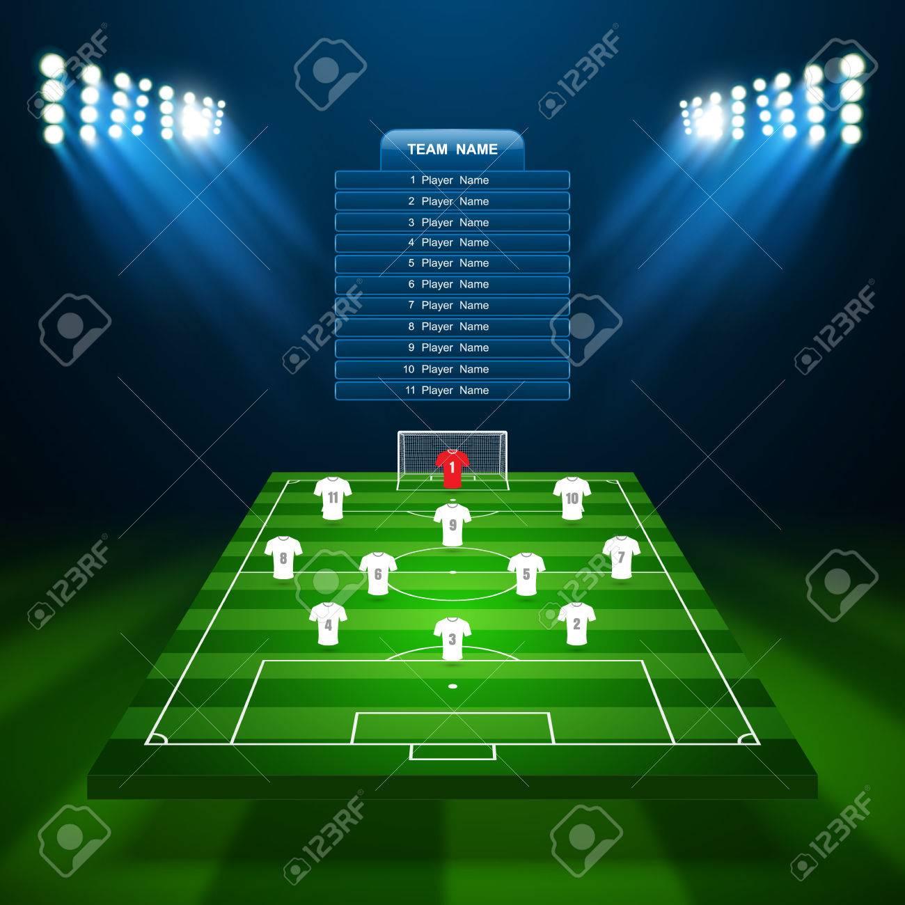 Soccer field, vector - 57651583