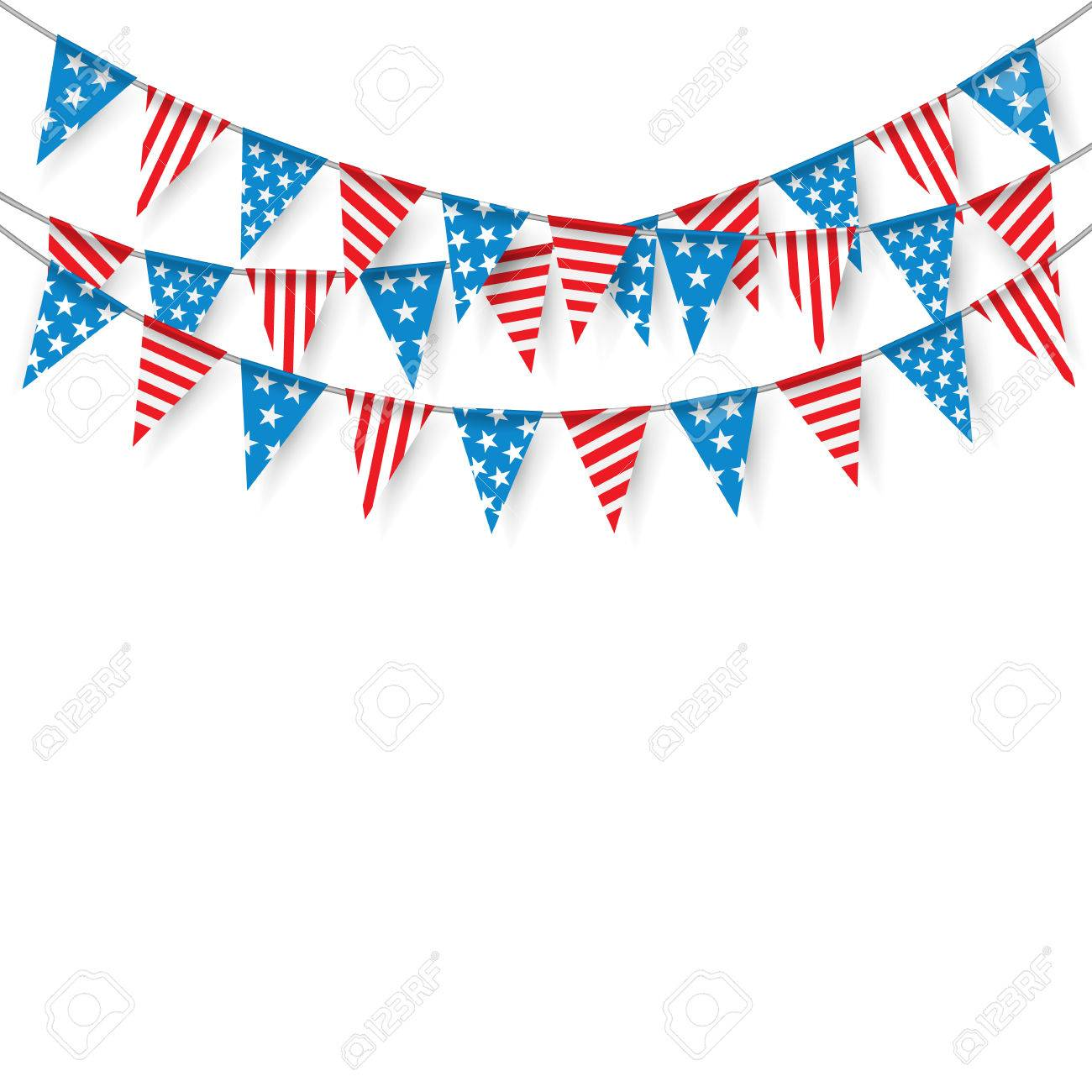 Bunting Flags, Hanging Bunting Flags for American Holidays, Party flags. - 59584286