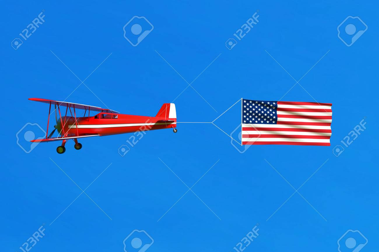 flying airplane and usa flag american flag on blue sky 3d stock