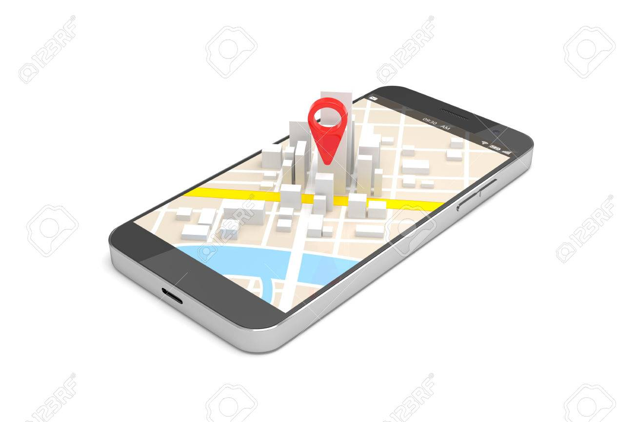 Mobile GPS Navigation Concept Smartphone With City Map Application