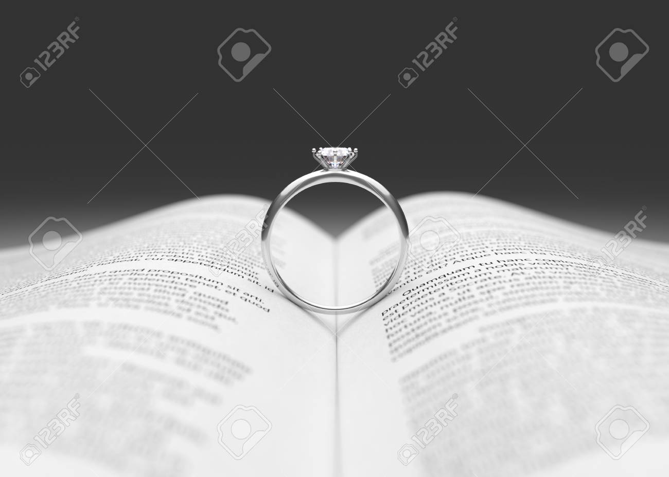 Wedding Ring On The Book Page 3D Illustration Stock Photo Picture