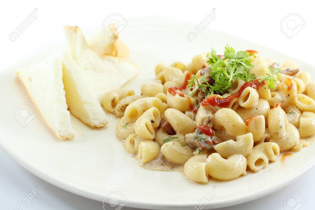 Elbow Macaroni Pasta With Carbonara Sauce Stock Photo 35998211