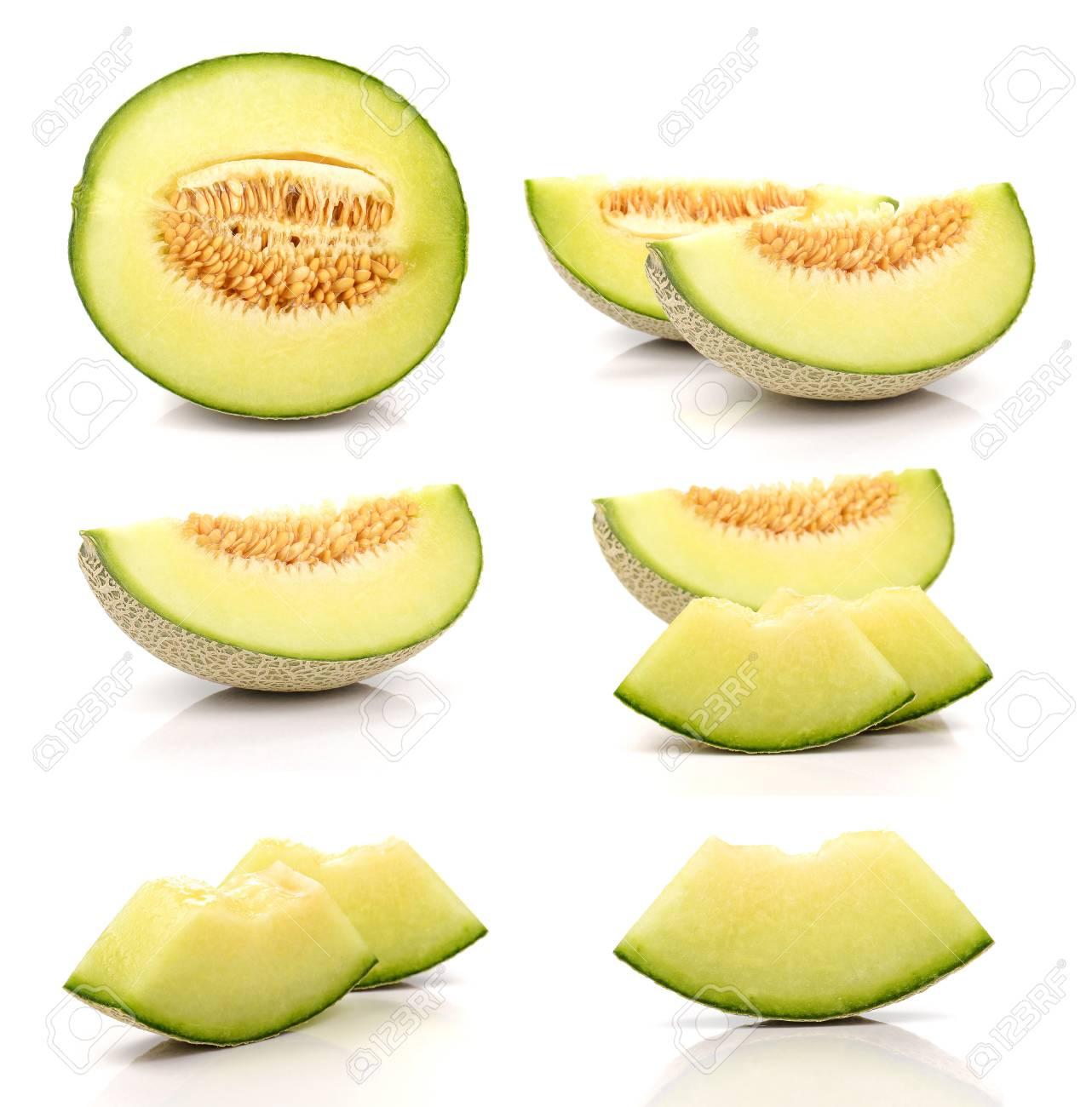 Colección melón cortado piezas aisladas sobre fondo blanco. Foto de archivo  - 58815468 aa2eacccfae4