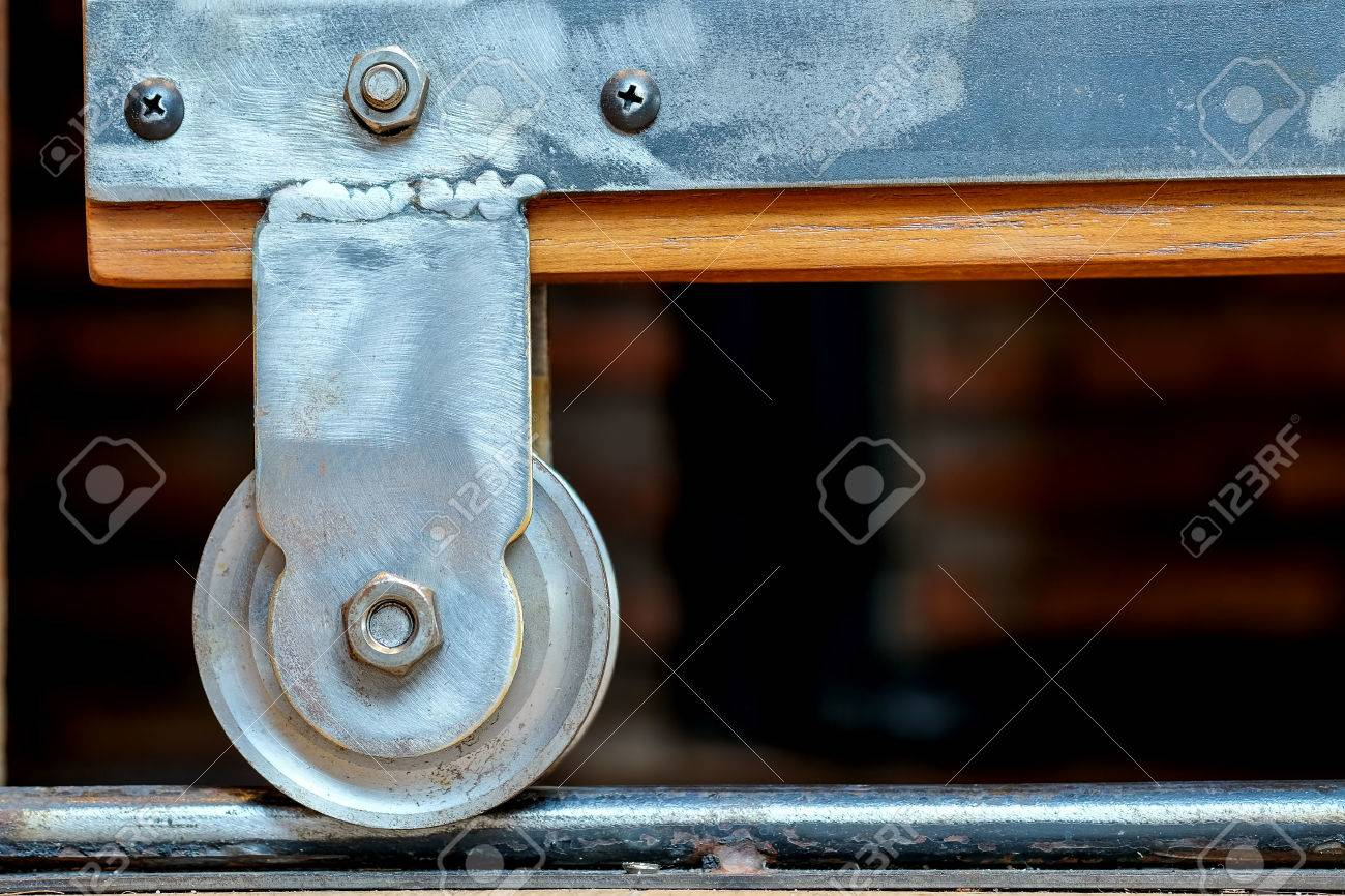 Sliding Door Wheel Vintage Loft Style Stock Photo Picture And