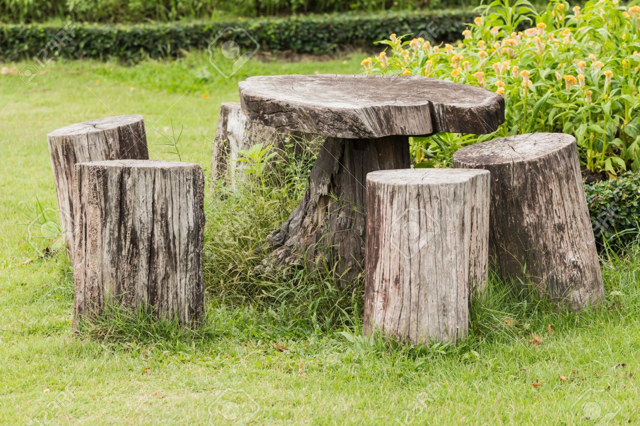 Big Seat Chairs Made Of Wood Trunk In Garden Stock Photo   40339506